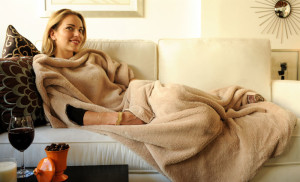 woman blanket couch